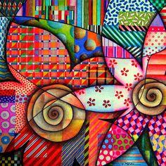Sandra p.Köche:  Lápis de cor e canetas hidrocor sobre papel