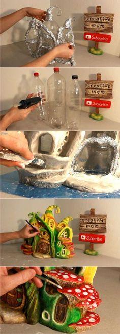 Лампа Fairy House с использованием пластиковых бутылок | Hometalk