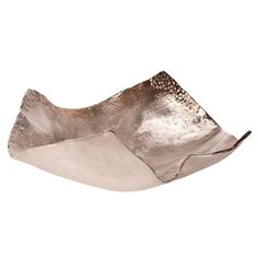 Large Aluminum Champagne Silver Hammered Bowl