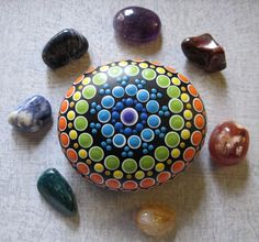 CHAKRA Mandala Stone Hand Painted River Rock ~ Energy ~ Meditation ~ Rainbow Colors by WrenStones on Etsy
