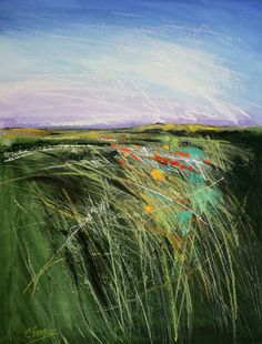 "Carol Engles Artist..Summer Grasses Four..SUMMER GRASSES FOUR watercolor with pastel and charcoal on paper 23"" H x 17"" W SOLD"