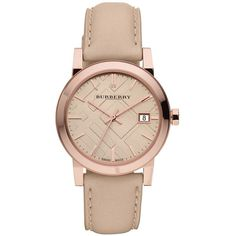 Burberry Ladies Rose Gold Watch with  Leather Strap ($495) ❤ liked on Polyvore featuring jewelry, watches, tan, rose gold wrist watch, burberry, rose gold jewellery, burberry jewelry and leather strap watches