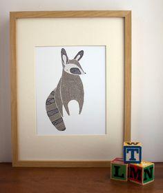 Raccoon Print. $20.00, via Etsy.