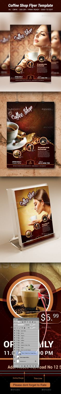 This is the Best Restaurant Flyer design for use by ANY food - coffee shop brochure template