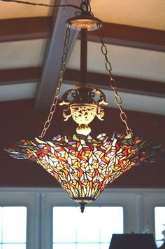 Beautiful Vintage Large Tiffany Style Art Stained Glass Chandelier 3 Lpght StainGlass