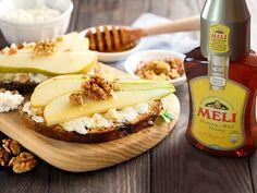 Toastjes met geitenkaas en peer - Meli honing