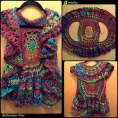 Girls Crocheted BoHo Vest | Bohemian Clothing | Hippie Festival | Circle Vest | Layering Piece | Bright Variegated Yarn | FREE SHIPPING - pinned by pin4etsy.com