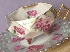 Antique Royal Halsey pink roses tea cup and saucer, Japanese tea cup, Footed tea cup, Lustreware teacup, green tea cup, porcelain tea cup