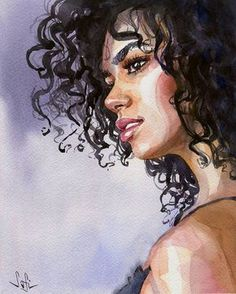 Fashion illustration watercolor face portraits 38 ideas for 2019 Watercolor Face, Watercolor Artwork, Watercolor Portraits, Black Girl Art, Pretty Art, Portrait Art, Face Art, Cool Drawings, Drawing Faces