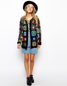 Enlarge ASOS Premium Patchwork Crochet Cardigan