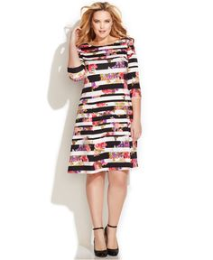 ny collection plus size printed sheath dress   plus size dresses