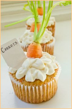Carrot Easter Cupcakes with Cream Cheese Frosting.