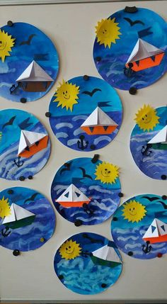 Terrific Free of Charge ocean Crafts for Kids Tips Returning to classes can be quite a scary time period for any child. It is really a difference toget Kindergarten Art, Preschool Crafts, Diy Crafts For Kids, Art For Kids, Arts And Crafts, Craft Ideas, Ocean Crafts, Boat Crafts, Paper Plate Crafts