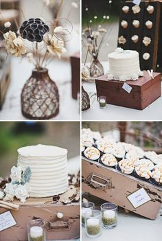 DIY rustic wedding. Mason jars w/ our names etched on them as gifts/drinking cups! Lemonade another good idea. Also has nice simple decor hanging in trees for ceremony