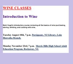 Mark Vogel's introductory class on wine.