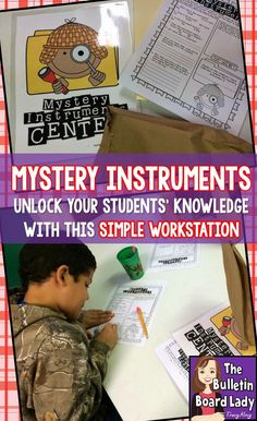 Mystery Instruments Music Workstation is a great way to get students thinking about the characteristics of instruments. Simple idea that can be used for several grade levels. Kindergarten Music, Preschool Music, Kindergarten Lesson Plans, Teaching Music, Music Lesson Plans, Music Lessons, 2nd Grade Music, Second Grade, Fourth Grade
