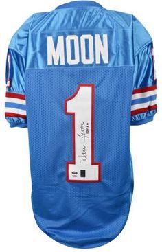"""Warren Moon Autographed Custom Jersey with """"HOF 06"""" Inscription - PSA/DNA #SportsMemorabilia #HoustonOilers"""