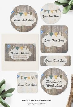 Seaside Harbor Collection: Beautifully rustic weathered wood creates the perfect background for this nautically-inspired business collection! Fun patterned bunting, subtle colors and realistic textures offer an eye-catching theme for a wide variety of businesses - especially those with a lake, sea, or beach focus. CyanSkyDesign on Zazzle.