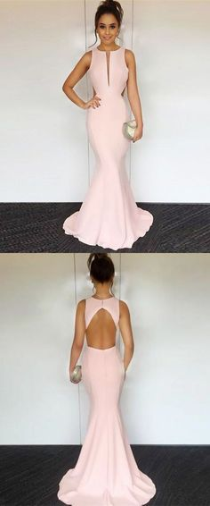 Mermaid Round Neck Sleeveless Open Back Pink Stretch