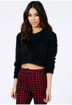 Missguided - Flafica Eyelash Knit Long Sleeve Cropped Jumper In Black