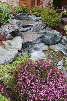 Picture gallery featuring backyard garden waterfalls with streams & ponds in a variety of designs. Get ideas and inspiration for backyard water features. Outdoor Water Features, Water Features In The Garden, Garden Features, Backyard Water Feature, Ponds Backyard, Backyard Landscaping, Backyard Waterfalls, Waterfall House, Garden Waterfall