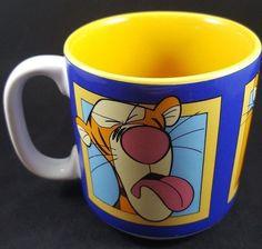 Disney Tigger 3 Faces of Tigger Yellow And Blue Mug #Disney