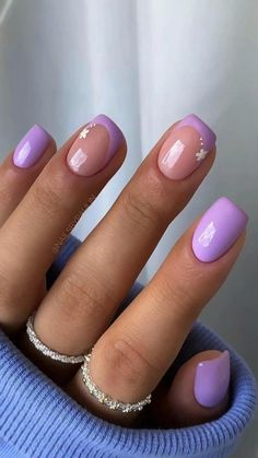 Purple Nail Designs, Purple Nail Art, Almond Nails Designs, Short Nail Designs, Fall Nail Designs, Yellow Nails, Pink Nails, Light Purple Nails, Purple Manicure