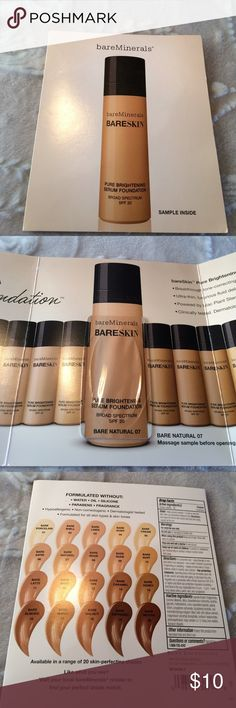 ⭐️BareMinerals BARESKIN sample Bare Natural 07 NIP New never opened. Packaging may be a little bent from storage. I do NOT trade or hold items. ⭐️Bundle 3 listings for $20 bareMinerals Makeup Foundation