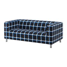 IKEA KLIPPAN Cover two-seat sofa Alvared black/blue The cover is easy to keep clean as it is removable and can be machine washed.