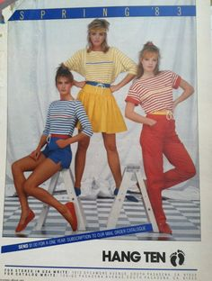 Hang Ten, Spring '83, March 83 Seventeen Magazine ad, South Pasadena, California , 80's