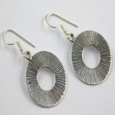 1 Pair Lovely 925 Sterling Silver Fancy Round Design Earrings Black Oxidize