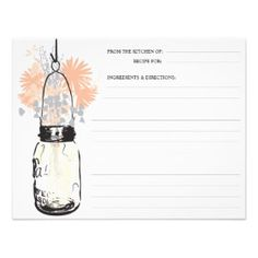 Mason Jar & Wildflowers Recipe Card Announcements