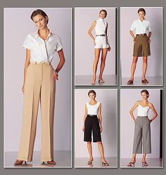Vogue V2532 Shorts, micro-mini, above mid-knee, below mid-knee or straight-legged pants have waistband, carriers, side pockets and mock-fly zipper. Chino, Gabardine and Wool Crepe