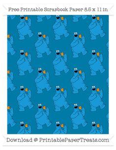 Free Cerulean Blue Large Cookie Monster Pattern Paper - Sesame Street