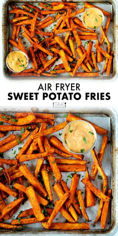These Air Fryer Sweet Potato Fries are easy to make and simply addictive thanks to a simple blend of three spices! Crispy on the outside and pillowy soft on the inside. The perfect side dish for cutting back on fat and calories without having to cut back on flavor, and still getting that comfort food fill! You can also serve them as an appetizer or on their lonesome as a healthy snack. Easy Appetizer Recipes, Potluck Recipes, Side Dish Recipes, Low Carb Recipes, Healthy Recipes, Best Fries Recipe, Air Fryer Sweet Potato Fries, Barbecue Side Dishes, Fried Potatoes