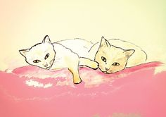"""Two cuddly cats comfortably """"fell"""" close to each other on a sofa or bed and stare at you wondering if any snacks are coming soon.  Two Cuddly Cats Meow - Special Edition - Cat Art Print  cat by CatsNeverTooMany"""