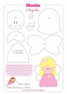 little angel pattern Felt Diy, Felt Crafts, Fabric Crafts, Diy And Crafts, Crafts For Kids, Paper Crafts, Paper Toys, Felt Patterns, Craft Patterns