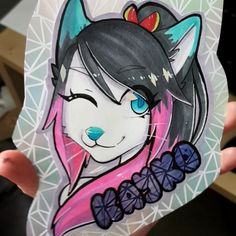 A deluxe holo badge for FLUFFY-WOLFZ on FA! (Before lamination)  #furry #furries #furryart #furryartist #furryartwork #traditional #traditionalart #digitalart #digital #multimedia #artist #fursona #anthro #prismacolor #pencils #markers #prismacolormarkers #copic #copicmarkers #art #drawing #doodle #commission #kemono
