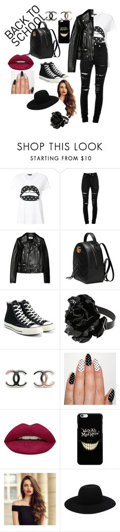 """""""back to school"""" by rubylove123 ❤ liked on Polyvore featuring Markus Lupfer, Yves Saint Laurent, Gucci, Converse and Huda Beauty"""