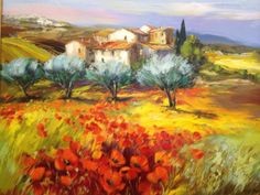 MICHEL VEZINET Amazing Paintings, Colorful Paintings, Artist Painting, Landscape Paintings, Oil Paintings, Art Pictures, Provence, Creative Art, Poppies