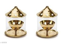 Festive Diyas & Candles Traditional Brass and Glass Diya (Pack Of 2) Material: Brass & Glass Size: 5.75 in Description: It Has 2 Pieces Of Diya Sizes Available: Free Size *Proof of Safe Delivery! Click to know on Safety Standards of Delivery Partners- https://ltl.sh/y_nZrAV3  Catalog Rating: ★4.1 (8640)  Catalog Name: Traditional Brass and Glass Diyas Vol 1 CatalogID_153470 C128-SC1604 Code: 094-1219314-