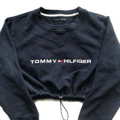 Image of Reworked Tommy Hilfiger Crop Sweatshirt Navy