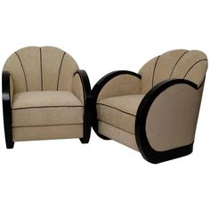 Couple Italian Art Deco Armchairs, For Sale at Art Nouveau, Art Deco, Bedroom Turquoise, Armchairs For Sale, Bedroom Chair, Italian Art, Black Wood, Club Chairs, 1930s