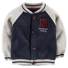 Carter s Boys Navy Grey Snap Up Varsity Jacket - Carters - Babies
