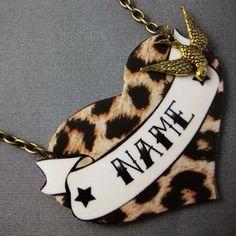 Customised Leopard Print Heart Tattoo Kitsch