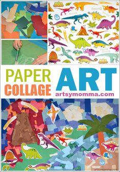 Paper Collage Art - Dinosaur Craft for Kids