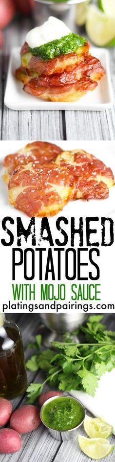 Smashed Potatoes with Mojo Sauce