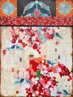 """""""Memories of Paris"""", Kathe Fraga www.kathefraga.com Inspired by vintage Paris and chinoiserie ancienne. 36x48, gold leaf and acrylic on frescoed panel."""