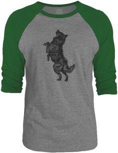 Big Texas Barking Dog (Black) 3/4-Sleeve Raglan Baseball T-Shirt