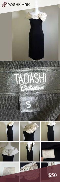 "Tadashi Collection holiday cocktail party dress Black & white, small, stretchy, back zipper, length 38"", waist 13"" across / 26"" around, chest 15"" across / 30"" around Tadashi Shoji Dresses"